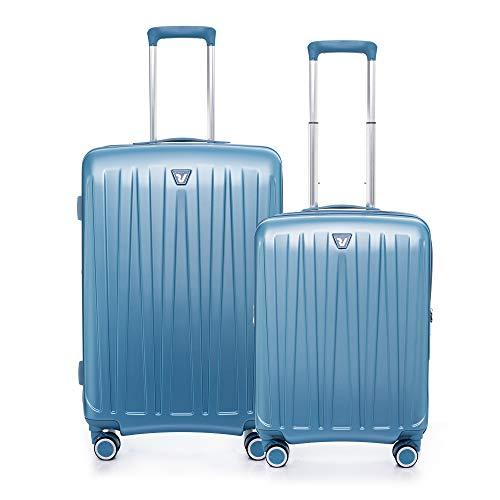RONCATO Antares - Juego de 2 trolley rígidos ampliables (medio + cabina) 4 ruedas tsa azul