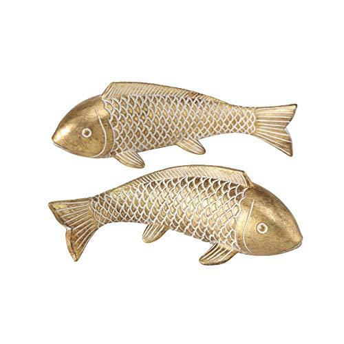 CasaJame Deko Fische, Fisch Figuren in Gold für Badezimmer, Tischdeko, Gartendeko aus Kunstharz, 2er Set, 22x8x8cm