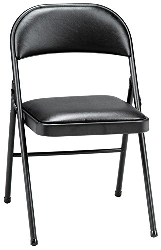 MECO 4-Pack Deluxe Vinyl Padded Folding Chair, Black Lace and Black Vinyl Seat and Back