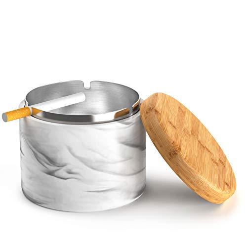 SEA or STAR Keramischer Aschenbecher mit winddichtem Deckel für Zuhause oder im Freien Aschenbecher für Zigaretten(Schwarz)