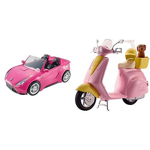 Barbie DVX59 Autre Glam Convertible Sports, Toy Vehicle for Doll, Pink Car & FRP56 ESTATE Mo-Ped Motorbike for Doll, Pink Scooter, Vehicle, Multi-Colour