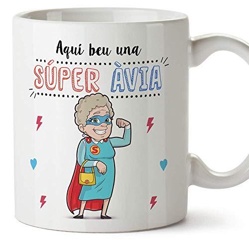 MUGFFINS Taza Mamá (En Catalán) -'Aquí beu una Súper Àvia' - Taza Desayuno/Idea Regalo Original/Día de la Madre para Abuelitas. Cerámica 350 mL