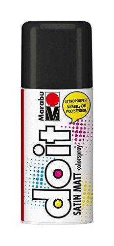 Marabu 21070006073 - Do it Satin Matt schwarz, Colorspray auf Acrylbasis, styroporfest, schnell trocknend, sehr gute Deckkraft, wetterfest, für große und kleine Bastelarbeiten, 150 ml Sprühdose