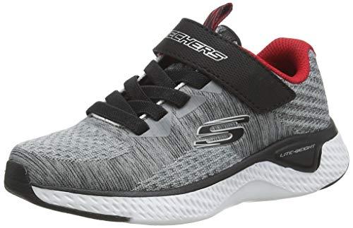 Skechers Jungen SOLAR Fuse Sneaker, Grau Schwarz Textil Schwarz Rot Trim Gybk, 35
