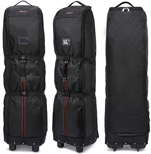 Thinksea Hard-Bottom Golf Club Travel Bag Case with Wheels, Heavy Duty Polyester Oxford Wear Resistant Waterproof - 55 x 15 x 12.5 Inches, Black