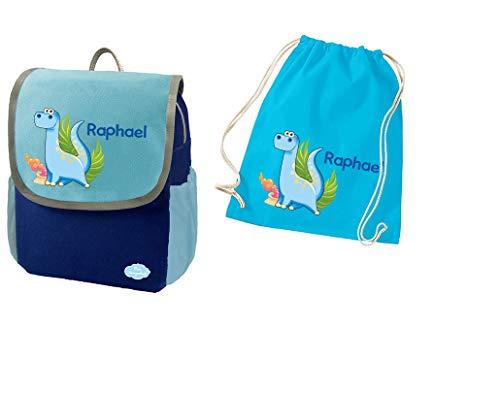 Mein Zwergenland Set 2 Kindergartenrucksack und Turnbeutel Happy Knirps NEXT mit Name Dino, 2-teilig, Blau