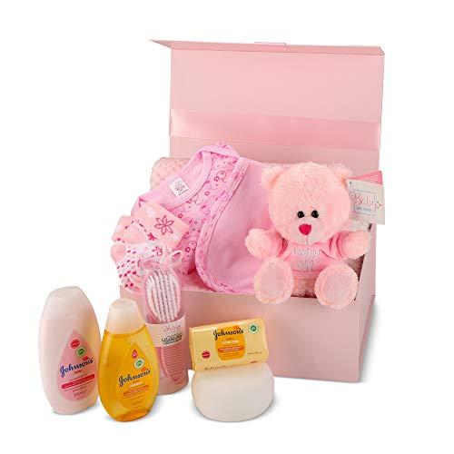 Baby Box Shop - Cesta regalo bebe - Regalos originales para baby shower con esenciales para bebes recien nacidos que incluye oso de peluche y caja recuerdos rosa…