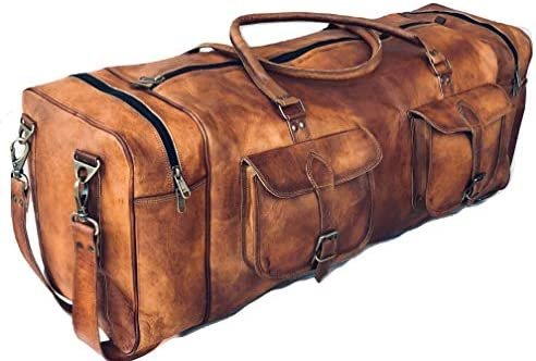 Leather Duffel Bag Large 32 Inch Square Duffel Travel Gym Sports Weekender Luggage Bag For Men product image