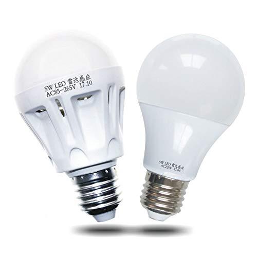 P12cheng Smart Sensitive Glühbirne, 3/5/7/9 W AC 220 V Radar Auto Bewegungsmelder Lampe Dämmerung bis Morgendämmerung Garage Licht Lampe – 7 W, Kunstharz, 5W