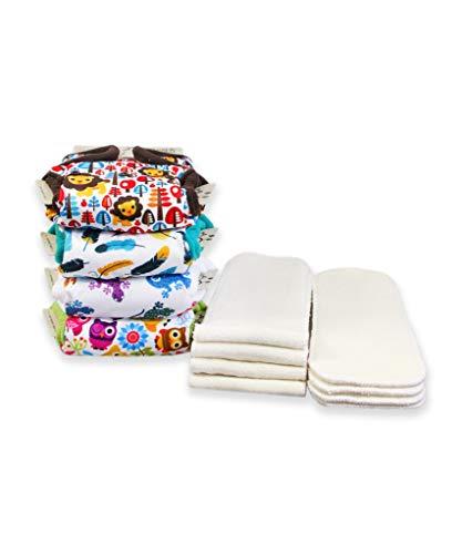 Petit Lulu 4 AIO Taschen Stoffwindel mit Einsätzen | Stoffwindelpackung | Fluffy Organic | Druckknöpfe | Wiederverwendbar und Waschbar | Hergestellt in EU