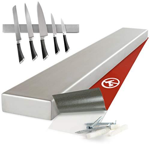 Moritz & Moritz® Magnetleiste Messer zum Kleben oder Bohren - Messerhalter Magnetisch - Messerleiste Edelstahl 40 cm - Messer Magnetleiste selbstklebend Küchenutensilien Werkzeugen