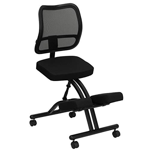Flash Furniture Mobile Ergonomic Kneeling Office Chair with Black Mesh Back