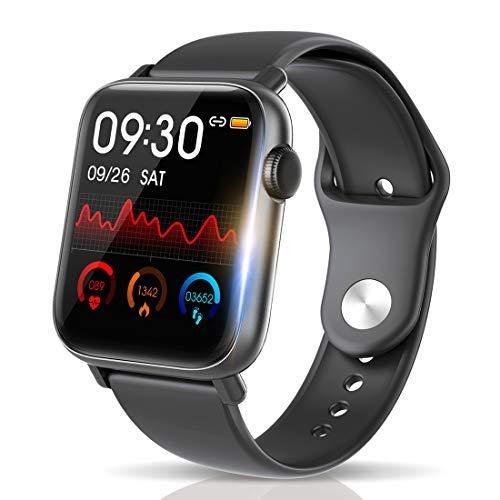 【最新Bluetooth5.0 IP68完全防水】 スマートウォッチ 活動量計 心拍計 歩数計 明度調整&天気予報 誕生日/父 母 ギフト 1.54インチ大画面 smart watch 消費カロリー 睡眠検測 超長い待機時間 着信電話通知/SMS/Twitter/Line/アプリ通知 健康サポート機器 24時間自動計測 カラースクリーン GPS運動記録 iPhone/Android対応 (ブラック)