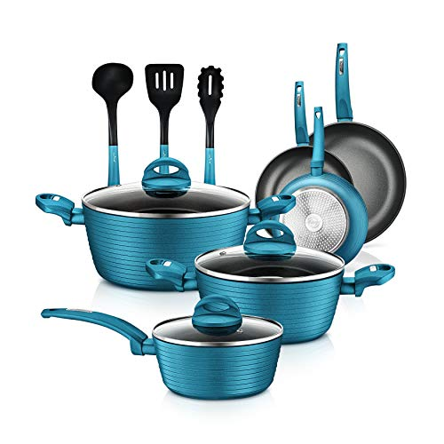 NutriChef Kitchenware Pots&Pans Stylish Cookware, Non-Stick Coating Inside&Outside+Heat Resistant Lacquer, Light Gray Inside and Green Outside(12-Piece Set), One Size, Teal