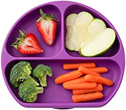 Table-Tot 3-Compartment Plate for Kids, Baby-Safe Silicone, Suction Plates for Toddlers by Juliaire (Grape))