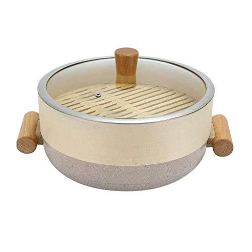 Gamvdout Cacerola de la Olla Cazuela, Olla de Sopa Antideslizante anodizada Dura con Tapa de Vapor Tradicional Olla de Sopa