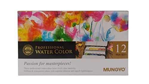 MUNGYO Professional Watercolor Set, Tin Case, 12 Count