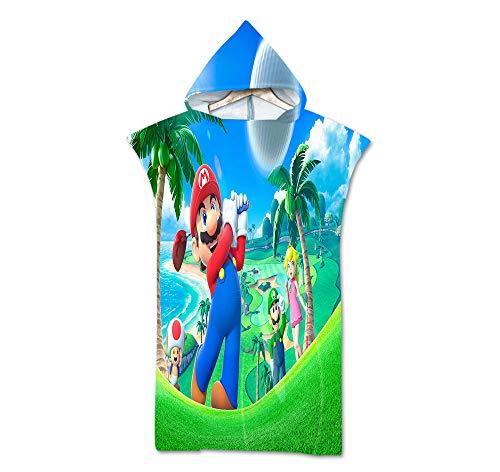 MIAOGOU Super Mario Bros Anime Personaje con Capucha Toalla De Playa Suave Microfibra Niños Natación Toalla De Playa Super Mario Baño Toalla De Baño Personalizado para Adolescentes
