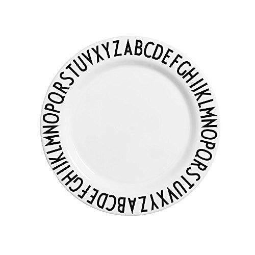 Design Letters melamin Teller, BPA-Frei - Durchmesser: 20cm. (Weiss)