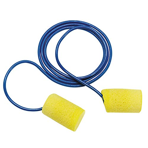 3M Ear Plugs, 100/Box, E-A-R Classic 310-1080, Corded, Disposable, Foam, NRR 29, For Drilling, Grinding, Machining, Sawing, Sanding, Welding, 1/Poly Bag