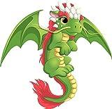 EW Designs Cute Adorable Girly Green Baby Flying Dragon Cartoon Vinyl Decal Bumper Sticker (4' Wide)