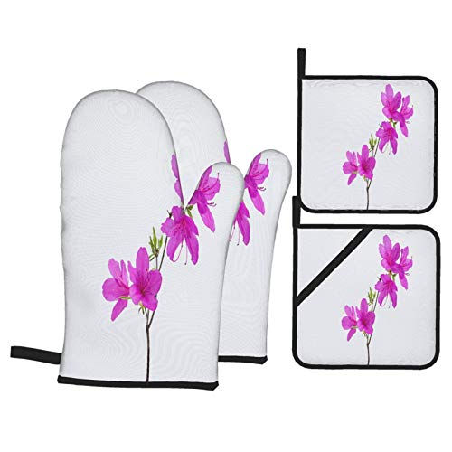 Oven Mitts and Pot Holders 4pcs Set,Azalea Flower Branch Growth Isolated On,Microwave oven non-slip Waterproof Heat Resistant Food Grade Mitten for Kitchen Cooking Baking