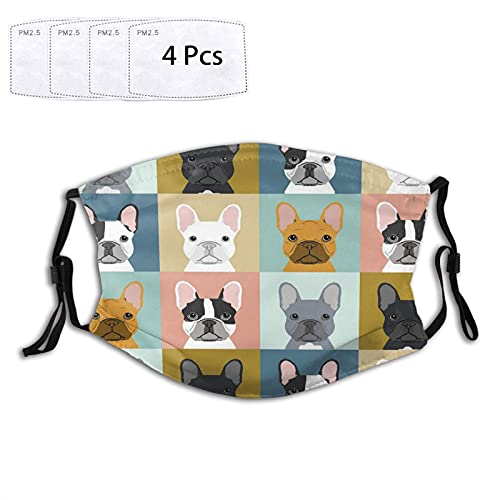 French Bulldog Dog Dustproof Windproof Face Mask,Reusable,Washable Cloth,Face Cover,Cover for Dust Men Women,7.9 x 5.9inch(Multicolor)