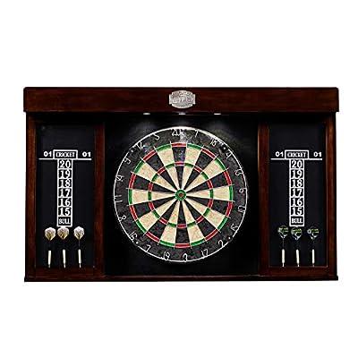 "Thornton Premium Quality Bristle Dartboard, Cabinet, Scoreboard, LED Lights - 18"" Sisal, Staple-Free Bullseye - Stylish, Complete Dartboards Set with Steel Tip Darts"