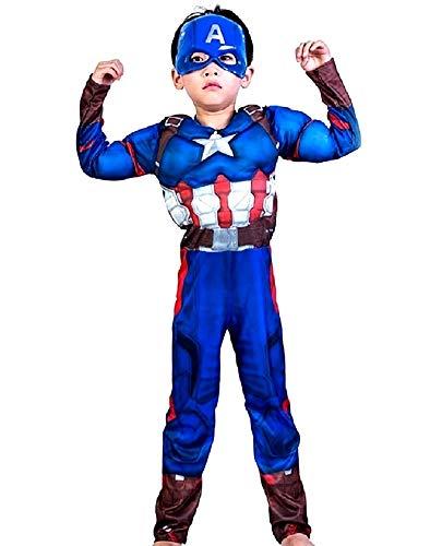 Vestito di Carnevale da Capitan America con Busto Muscoloso e Maschera Idea Travestimento Bambini Taglia M 5-6 anni Costume Adatto come Regalo Compleanno per Appassionati di Supereroi Cosplay