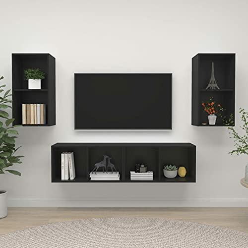 Foecy Mueble de TV Colgante, Juego de 4 uds, Juego de Muebles de Sala de Estar de Cartón Negro