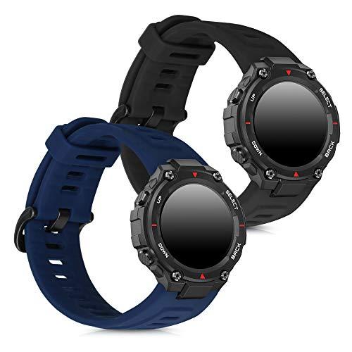 kwmobile 2X Brazalete Compatible con Huami Amazfit T- Rex -  Pulsera de Silicona Negro/Azul Oscuro sin Fitness Tracker