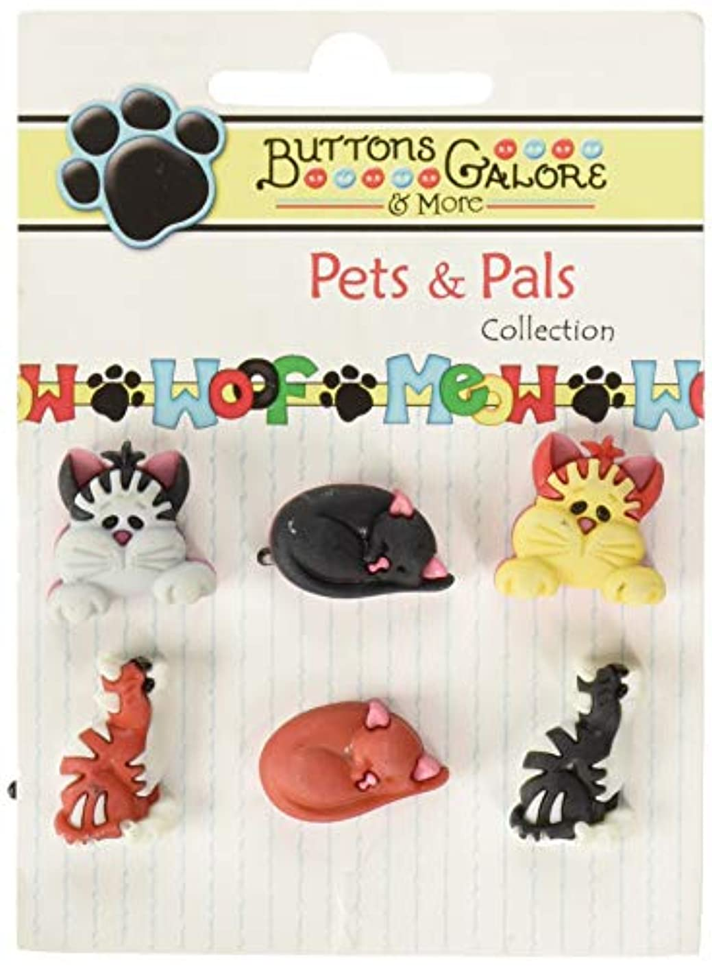 Buttons Galore PP103 Pets & Pals Buttons (6 Pack), Cool Cats, Multicolor