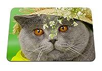 26cmx21cm マウスパッド (猫の顔のブリトン帽子の花) パターンカスタムの マウスパッド