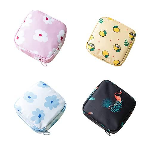 Feliciay 4 Stück Menstruationspadentasche, Reißverschluss, Damenbindentasche, Serviettenbeutel, Menstruationstasse, Baumwollbeutel für Damen und Mädchen (Flamingo, Egret, Zitrone, Blume)