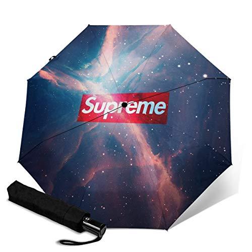 Supreme Automatischer Dreifach Faltschirm Sonnenschutz Regenschirm Wasserdicht Reise bedruckt Tragbarer Regenschirm