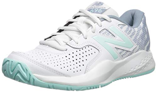 New Balance Women's 696 V3 Hard Court Tennis Shoe, White/Light Reef, 12 D US