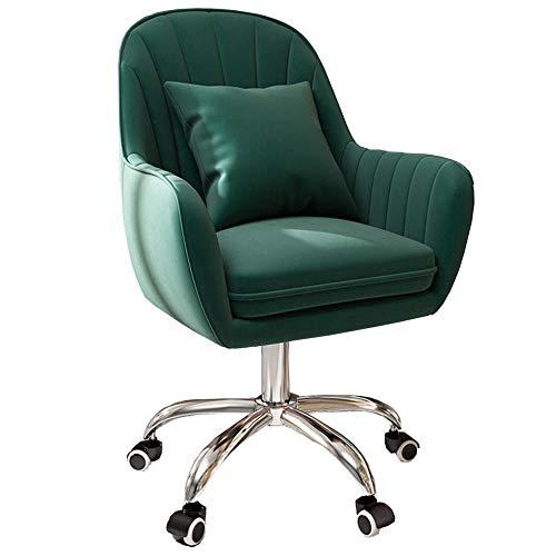 Silla de tocador de terciopelo con brazos, silla ergonómica de oficina con altura ajustable, cómoda silla giratoria para dormitorio, aparador, sala de estar, color verde