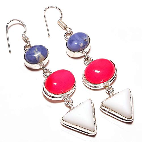 White Coral, Sodalite, Botswana Agate Multi-Stone Handmade EARRING 2.5' Long Silver Plated! Jewelry from Kashish! All Variety Store all Occasions