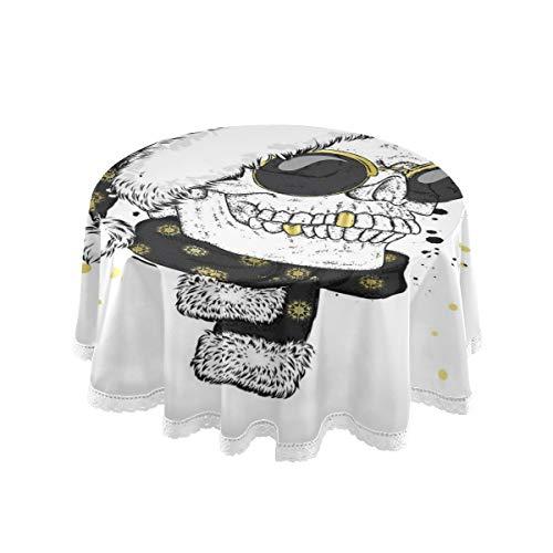 NOLYXICI Runde Tischdecke,Schädel Brille Schal Weihnachtsmütze Vektor,Tischdecken Geeignet für Home Küche Dekoration (Durchmesser 152cm)