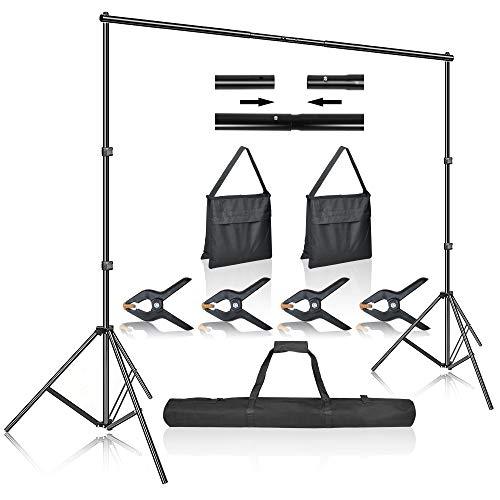 LZQ Hintergrund Unterstützungssystem Foto Studio Ständer 2,1M x 3M / 7ft x 10ft Ständer Set mit Transporttasche und Leimzwingen 4Stück für Fotostudio, Porträt und Videoaufnahmen