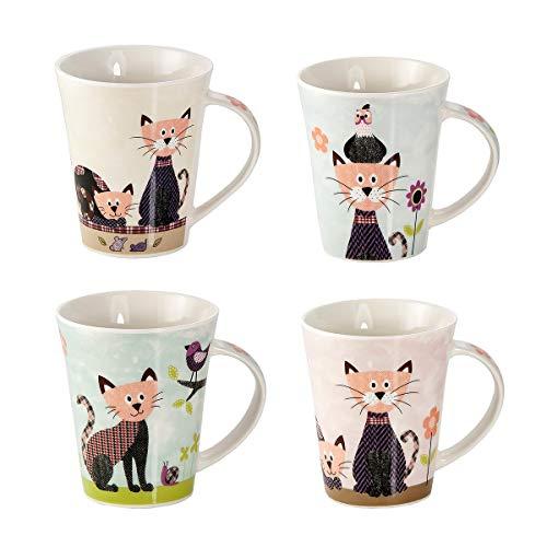 Tasse Chat - Lot de 4 Tasses à Café en Porcelaine, Tasse à Thé, Mug avec Mignonne Chats Colorés, Cadeau Original pour les Amateurs des Chat et des Animaux