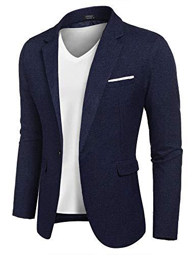 MAXMODA Blazer Hombre Slim Fit Chaqueta Blazer Casual Botón Azul Marino