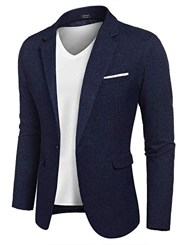 COOFANDY Men Slim Fit Suits Casual Lightweight Blazer Jackets One Button Tuxedos