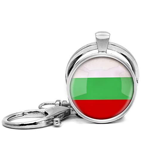 Edelstahl Schlüsselanhänger mit Schlüsselring Leicht Dekorative Schlüsselanhänger Tolles Geschenk für Männer und Frauen Die Republik Bulgarien Nationalflagge