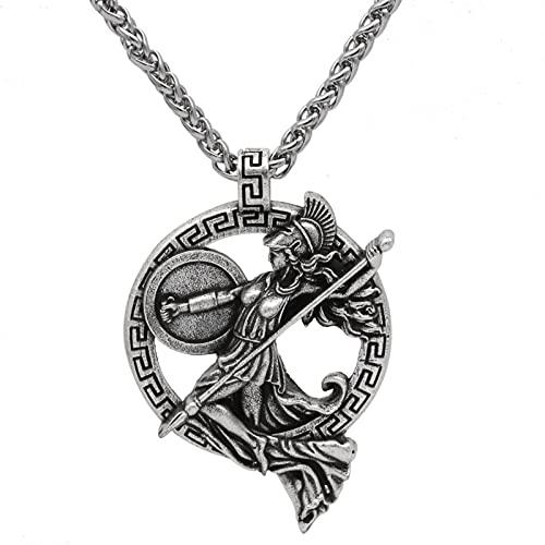 Athena Necklace Greek Goddess Roman Mythology Jewelry Minerva Pendant Warrior Goddess Minerva Mens Silver Womens Birthday