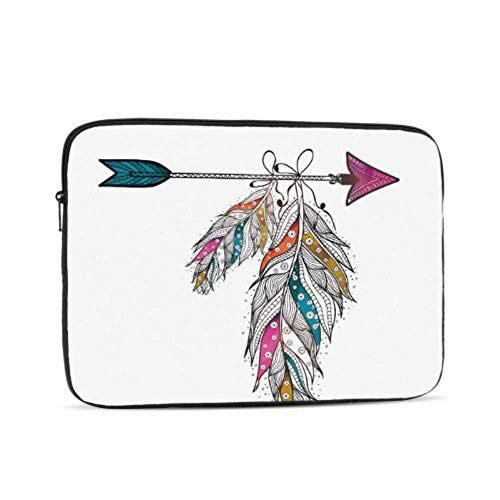 MacBook Air Cases Boho Style Ornamental Feathers Hanging On Arrow Cr Mac Book Air Case Multi-Color & Size Choices 10/12/13/15/17 Inch Computer Tablet Briefcase Carrying Bag