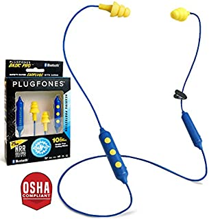 Plugfones Basic Pro Wireless Bluetooth in-Ear Earplug Earbuds - Noise Reduction Headphones with Noise Isolating Mic and Controls (Blue & Yellow)