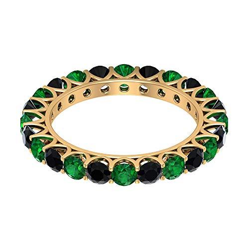 Juego de puntas de 2,64 ct con certificación de diamante negro, anillo de eternidad, 3 mm, redondo, de piedras preciosas alternativas, anillos de promesa, 10K Oro amarillo, Size:EU 49
