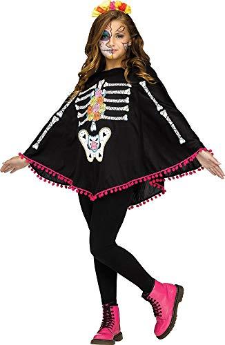 Fun World Little Girl's Day of The Dead Child Poncho Costume Childrens Costume, White, Standard