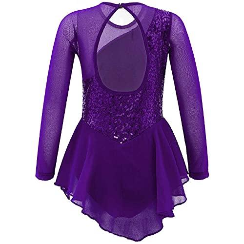 ranrann Vestido de Danza Ballet Manga Larga para Nia Maillot de Gimnasia Rtmica con Falda Tul Leotardo Elstico de Baile Disfraz de Bailarina Morado 4 aos